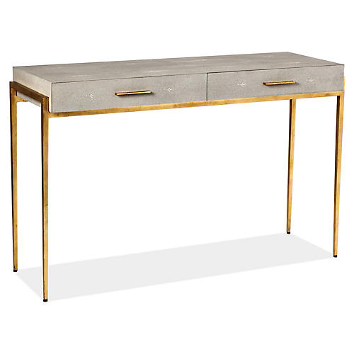 Monrand Faux-Shagreen Console, Taupe