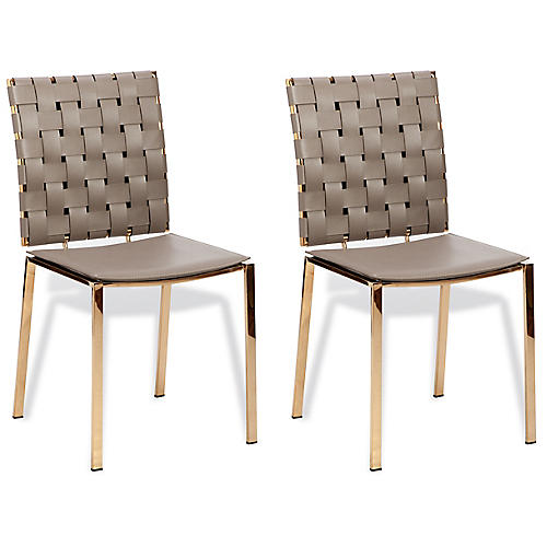S/2 Bliss Woven Side Chair, Taupe Leather