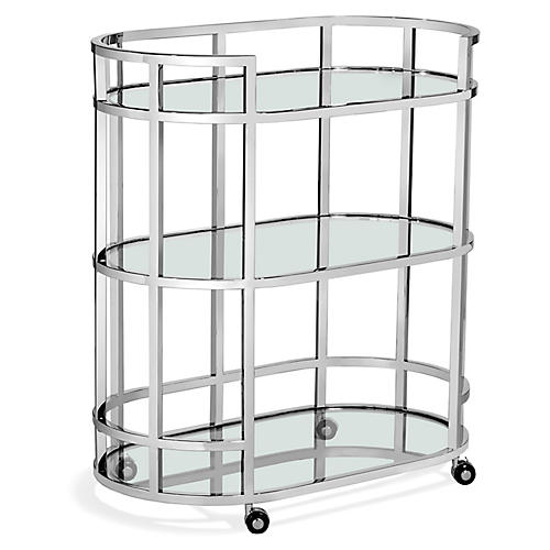 Hayden Bar Cart, Clear/Nickel