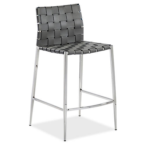 Logan Counter Stool, Gray Leather