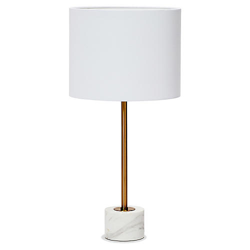 Beck Table Lamp, White/Brass