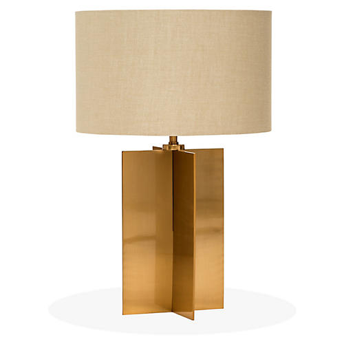 Tristan Table Lamp, Antiqued Brass/Tan