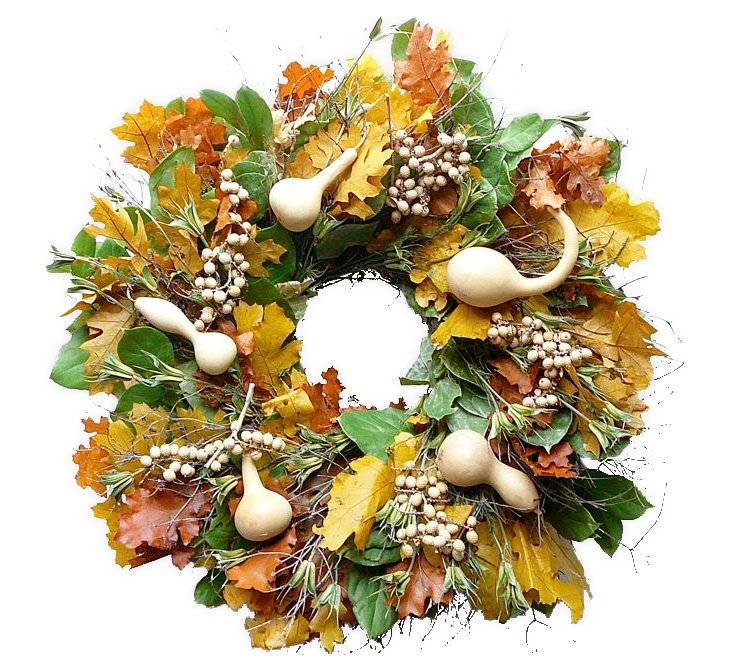 """22"""" Canella Berry & Gourds Wreath, Dried"""