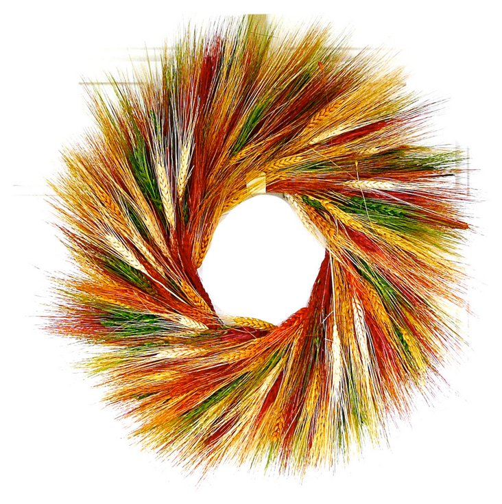 """22"""" Autumn Wheat Wreath, Dried"""