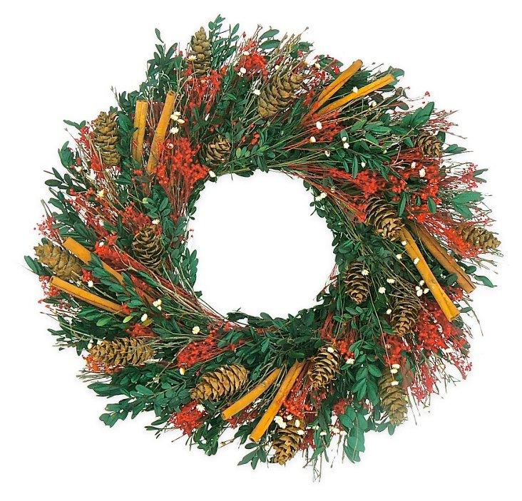"22"" Cinnamon & Pinecones Wreath, Dried"