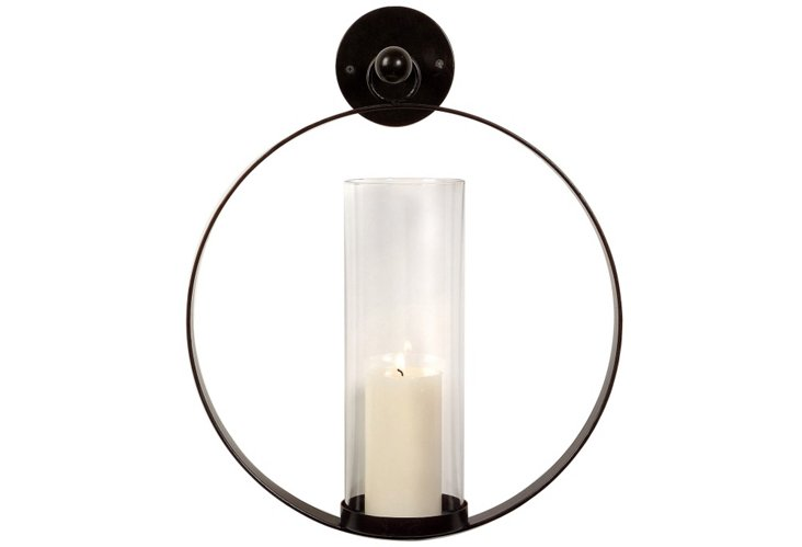 "19"" Mounted Wall Candleholder, Black"