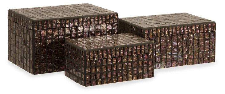 S/3 Orchid Mosaic Boxes