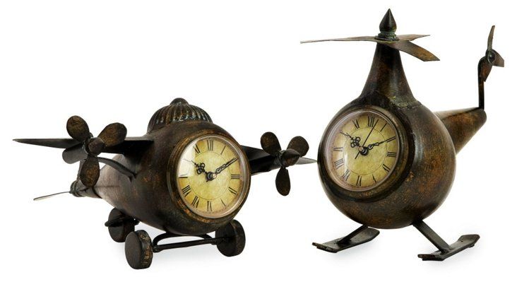 Asst. of 2 Lindbergh Aviation Clocks