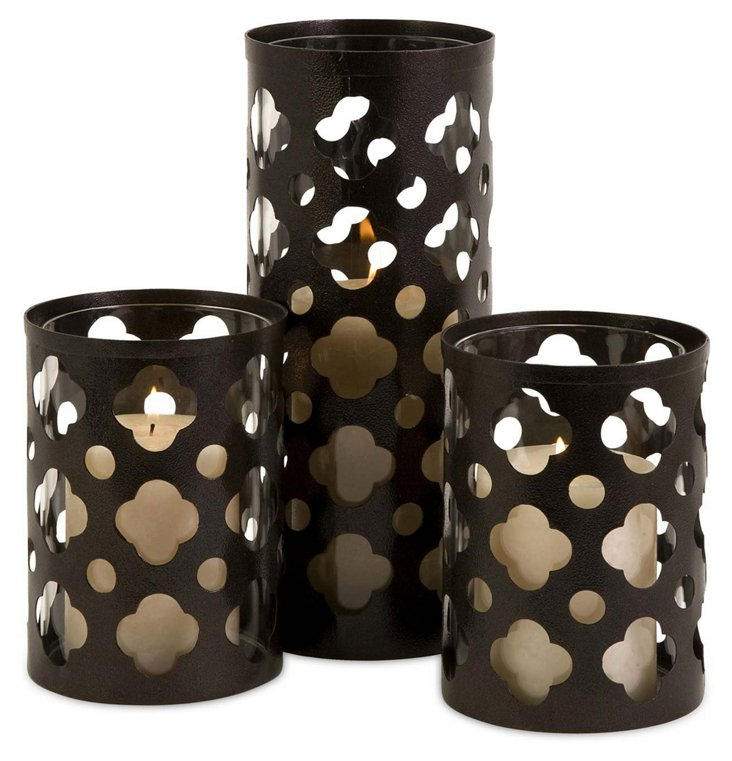 Asst. of 3 Norte Candleholders, Brown