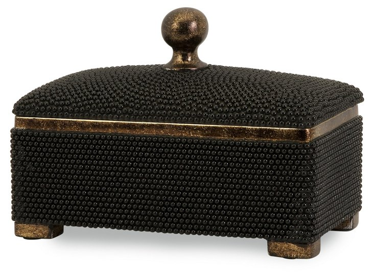 "12"" Caviar Beaded Box, Black"