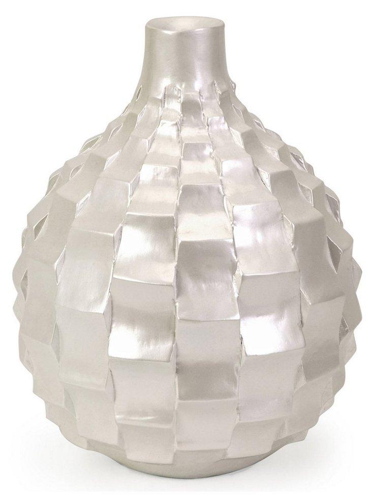 "10"" Helena Pearl Vase, White"