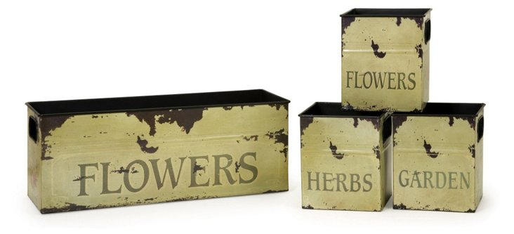 Tin Flower Planters, Asst. of 4