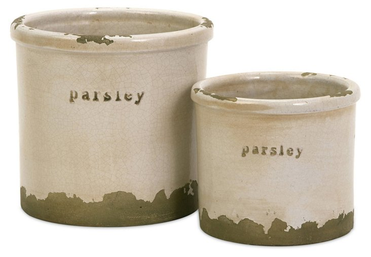 Parsley Herb Pots, Asst. of 2