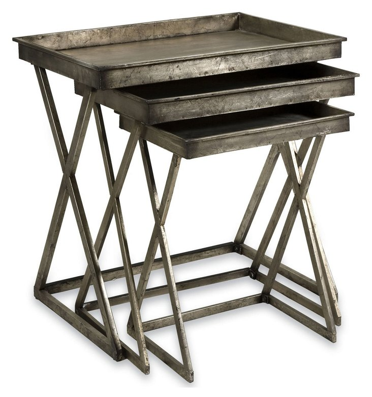 Silver-Leaf Tray Tables, Asst. of 3