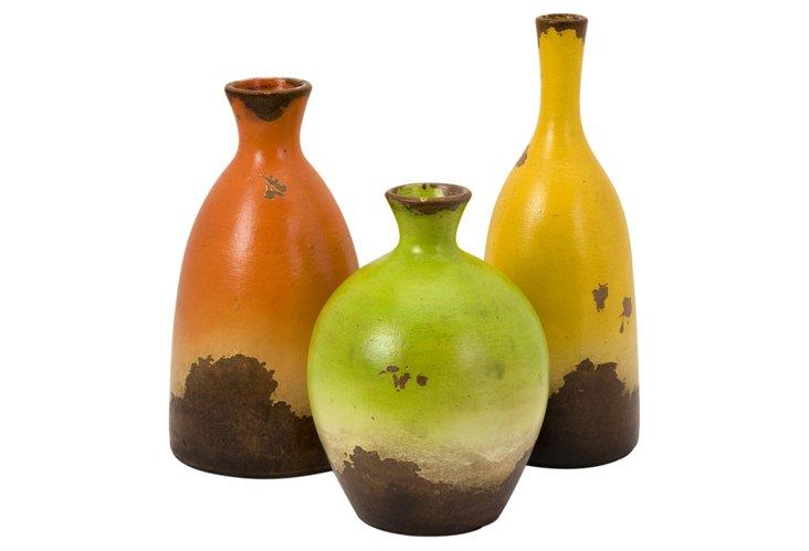 Candence Terracotta Vases, Asst. of 3