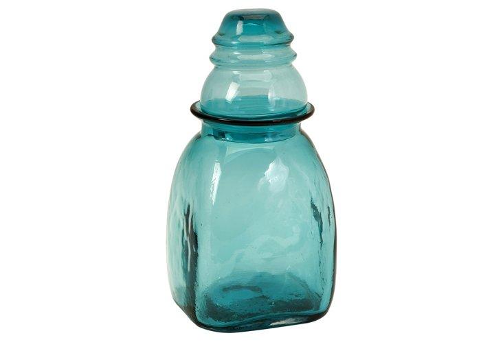 "13"" Insulator Glass Canister, Blue"