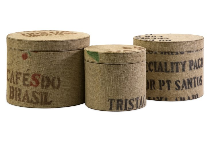 Asst. of 3 Tavin Jute Round Boxes, Tan