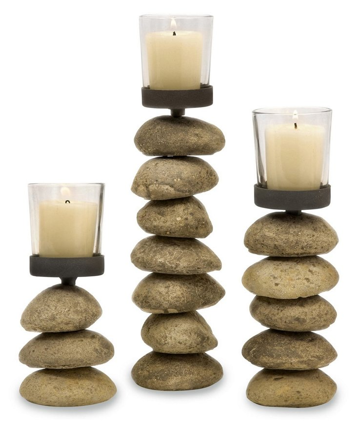 S/3 Cairn Candleholders w/ Votive Cup