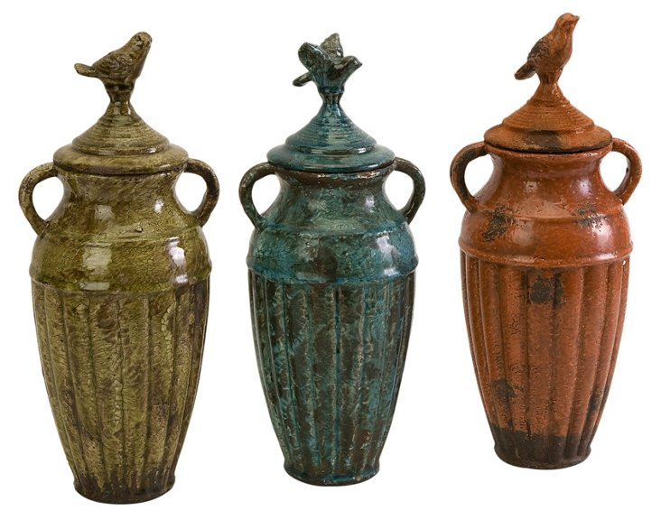 Abrielle Ceramic Jars, Asst. of 3