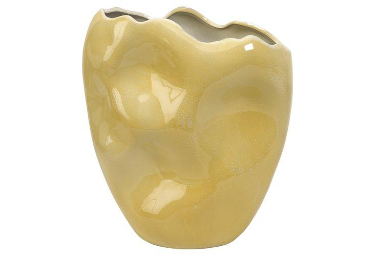 "15"" Waters Freeform Vase, Gold"