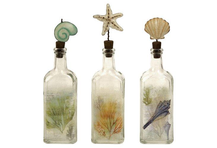 Burton Coastal Glass Bottles, Asst. of 3