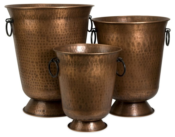 Asst. of 3 Hammered Planters, Copper