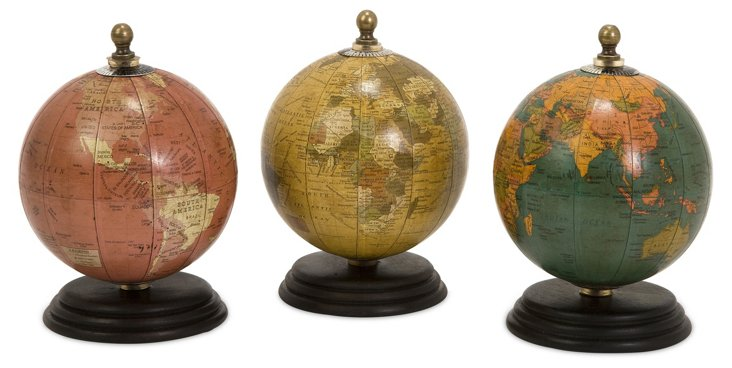 Asst. of 3 Antique-Finished Mini Globes