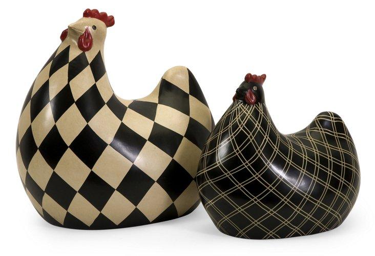 S/2 Herrick Black and White Chickens