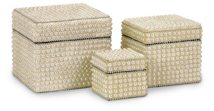 S/3 Raina Pearl-Finish Storage Boxes