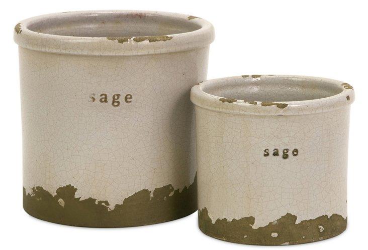 S/2 Sage Herb Pots