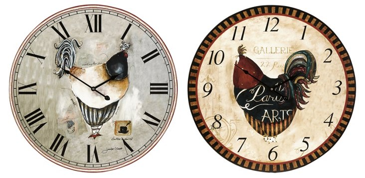 Ralla Rooster Clocks, Asst. of 2