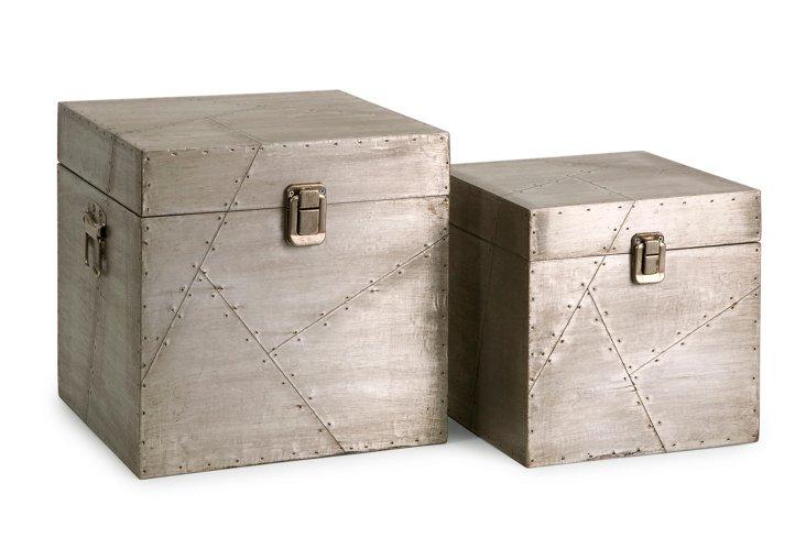 Asst of 2 Jensen Aluminum Clad Boxes