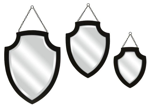 Crestly Black Wall Mirror Set