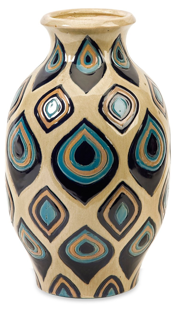 """11"""" Peacock Hand-Painted Vase"""