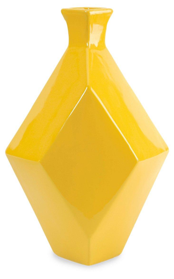 "14"" Chantal Ceramic Vase, Yellow"