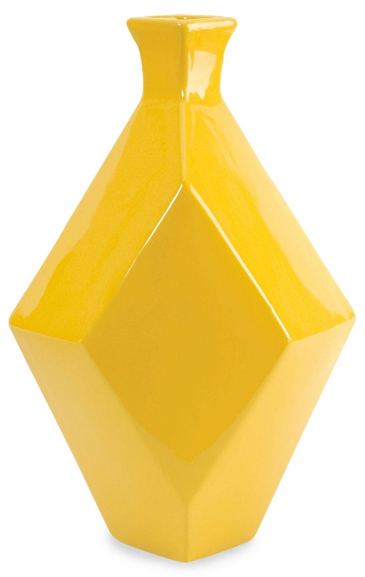 "16"" Chantal Ceramic Vase, Yellow"