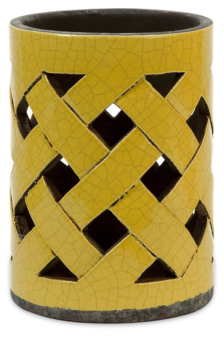 "9"" Morelia Cutwork Lantern, Yellow"