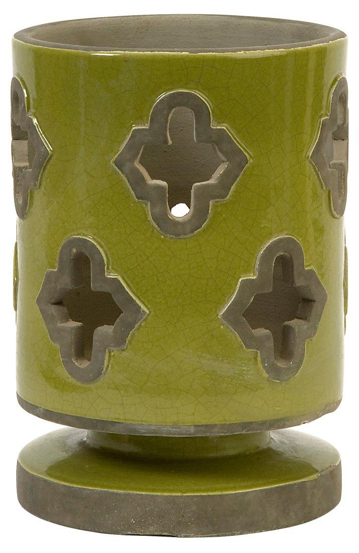 """9"""" Chapala Cutwork Lantern, Green"""