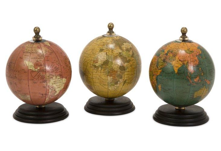 S/3 Antique Finish Mini Globes