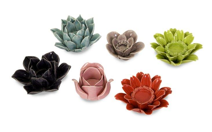 6 Asst. Leona Flower Candleholders
