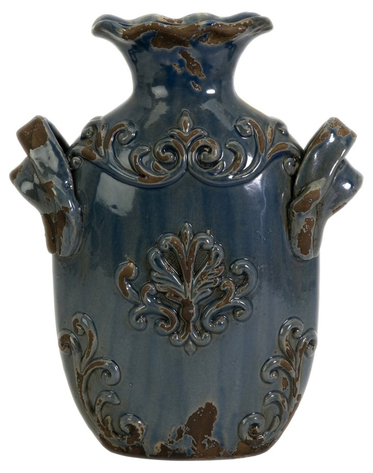 "12"" Cadet Vase, Distressed Blue"