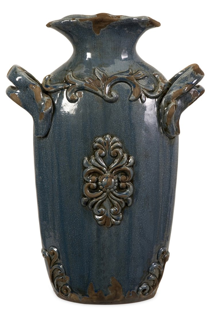 "19"" Cadet Vase, Distressed Blue"