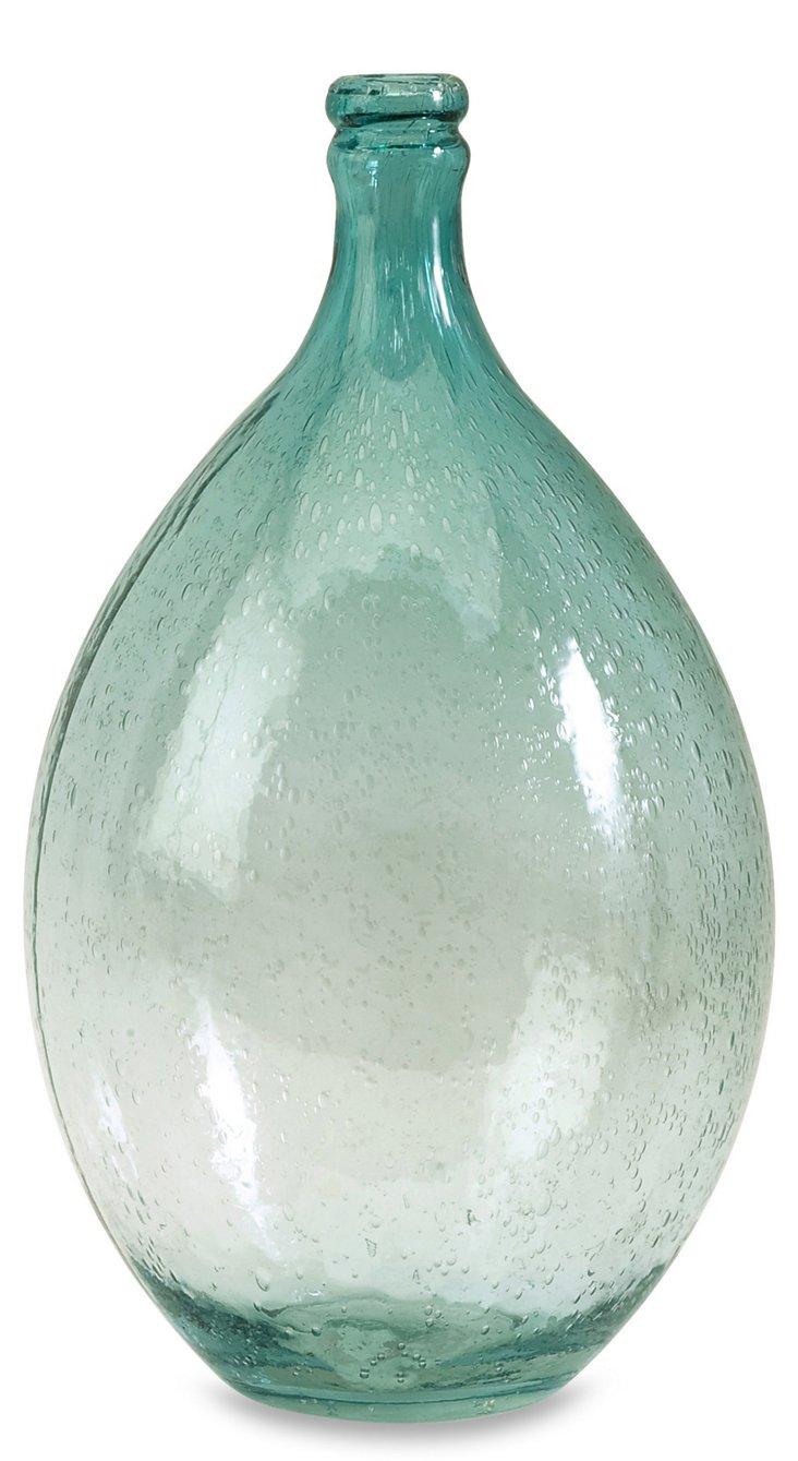 """14"""" Amadour Bubble-Glass Bottle, Blue"""