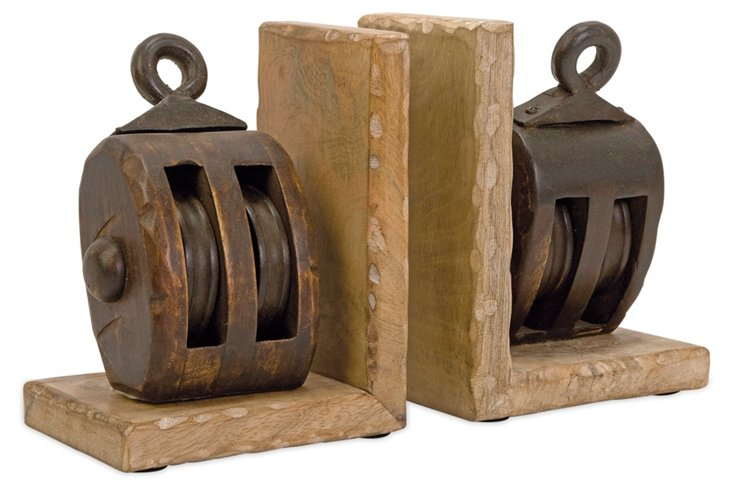 "Pair of 8"" Pulley Bookends, Brown"