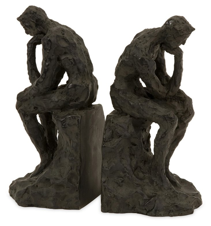 Pair of Thinking Man Bookends, Black