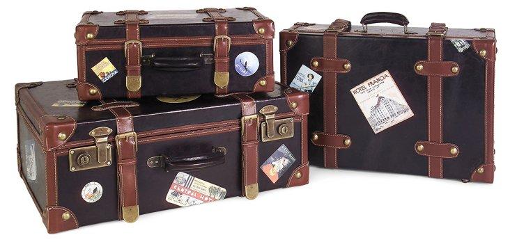 Asst. of 3 Souvenir Suitcases, Black