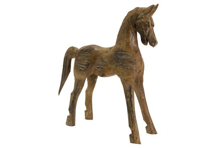 Carved Albazia Wood Horse