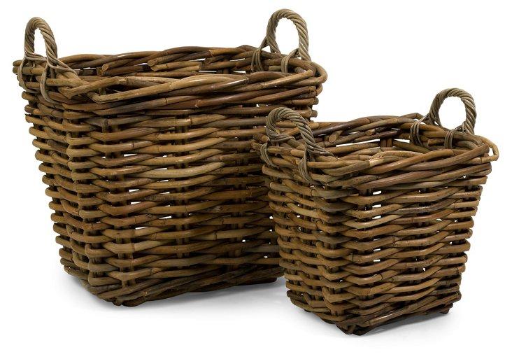 Oversize Rattan Baskets, Asst. of 2