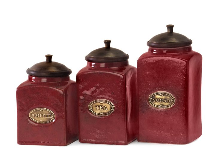 Asst. of 3 Red Ceramic Canisters