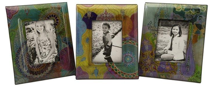 S/3 Paisley Photo Frames, 5x7